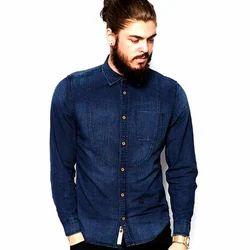 Men Plain Full Sleeves Denim Shirt