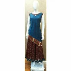 Chiffon silk Long Wedding Wear Zola Ladies Kurti, Dry clean, Size: Xxl
