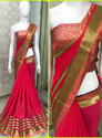 Georgette With Heavy Border Rani Pink  Color Saree