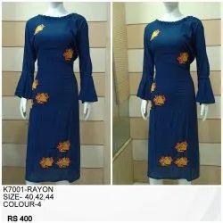 Full Sleeve Blue Rayon Ladies Kurti