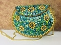 Sea Green and Golden Mosaic Metal Clutches
