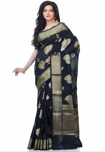294fce5af Ceremonial Black Silk Blend Zari Work Banarasi Saree With Stitched Blouse