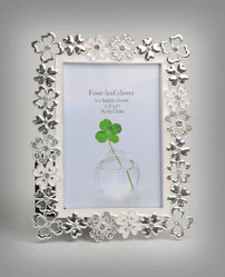 Silver Photo Frame with Flower Cutting