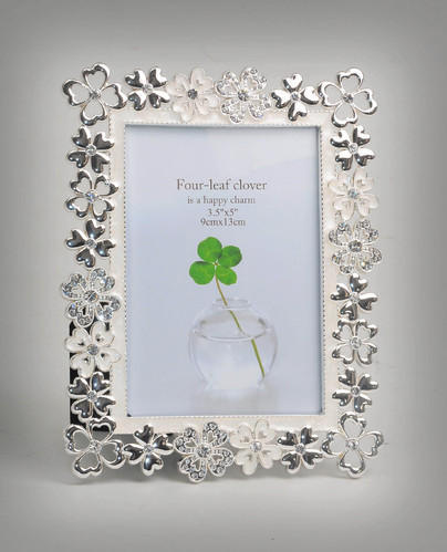 Silver Photo Frame With Flower Cutting Small-PF1086, Silver Picture ...