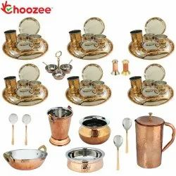 Choozee - Set of 6, Stainless Steel Copper Thali Dinner Set with Serveware & Copper Jug (54 Pcs)