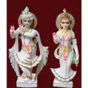 Marble Painted Colored Radha Krishna Ji Statue For Worship