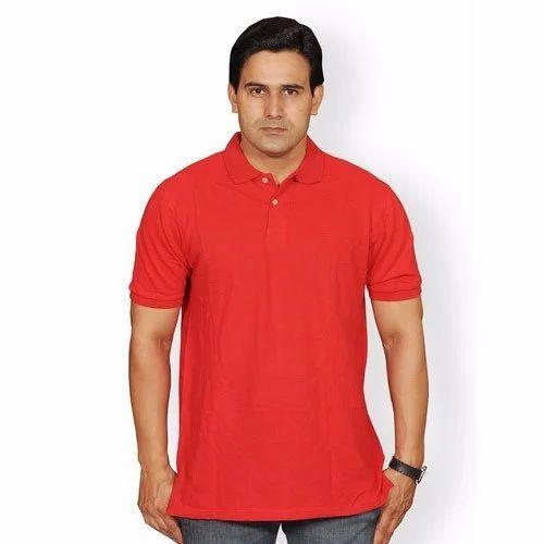 1dcaad83e54 Large Red Men  s Plain Polo T-Shirt