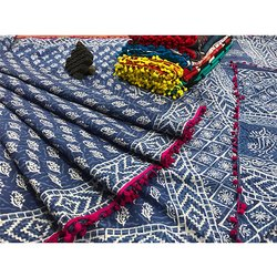 Vastrang Casual Wear Printed Pompom Saree With Blouse, 6.5 m (with blouse piece)