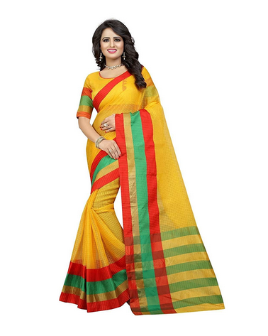 34b02b1617a83 Yellow And Red Party Wear Women Cotton Silk Saree