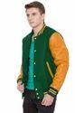 Kelly Green Body Bright Gold Sleeves Knit Collar Varsity - Men''s