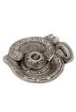 White Metal Om Shape Incense Stick Stand