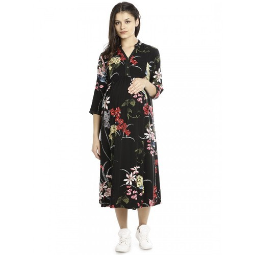6db560b0886ee Cotton Rayon Fabric Stitched Half Sleeves Maternity Gown, Rs 1299 ...