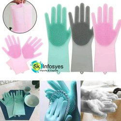 Green Silicon Hand Gloves, For Washing, Size: Medium