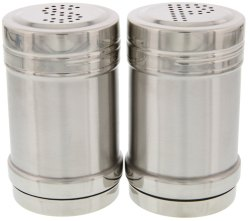Stainless Steel Metal Round Salt and Pepper Shaker Set