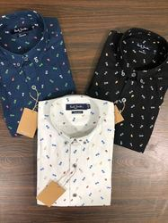 Collar Neck Peach Printed Shirts