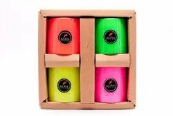 AuraDecor Fluroscent Color Pillar Candle Gift Set