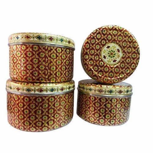 SS Handcrafted Meenakari Printed Steel Box, Size: 12 inches
