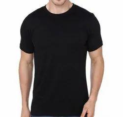 Men Round Neck Black T Shirt