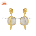 Rainbow Moonstone Gemstone Gold Plated Silver Hoop Earrings