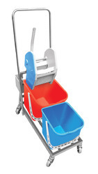 Double Bucket Mop Wringer Trolley