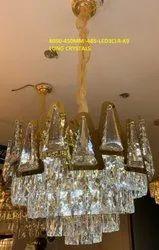 GOLD Hanging 8050-450mm-685-LED 3CLR-K9 Long Crystals Chandelier