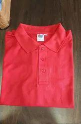 Plain Collar Polycotton Tshirts, Size: Large