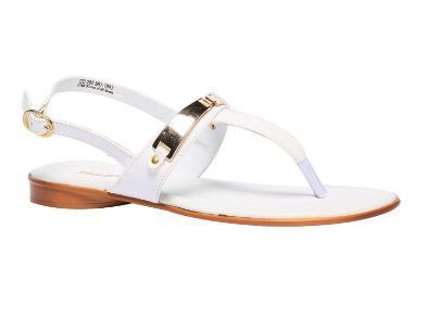 Casual Leather Bata White Sandals For