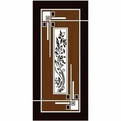 Polished Brown And White Decorative Wooden Door
