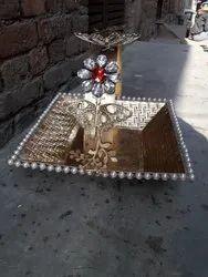 Golden Mettalic metal hamper basket, Polish,Handle For Carry