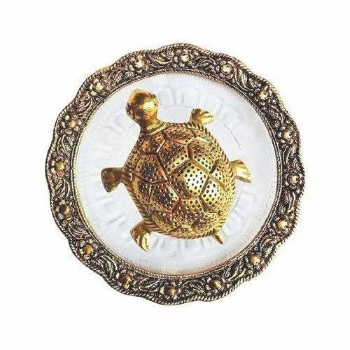 Gargi Creations Round Brass Turtle With Plate