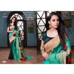 Rachna Linen Silk Patch Work Portrait Catalog Saree For Women 2