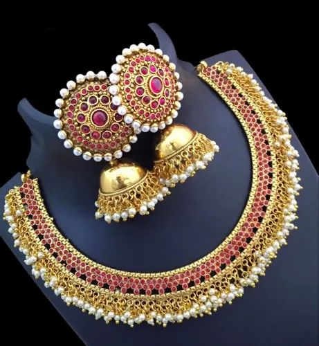 6139bbfbbf5 Sitashi Fashion Jewellery Gold Plated Red Necklace Set