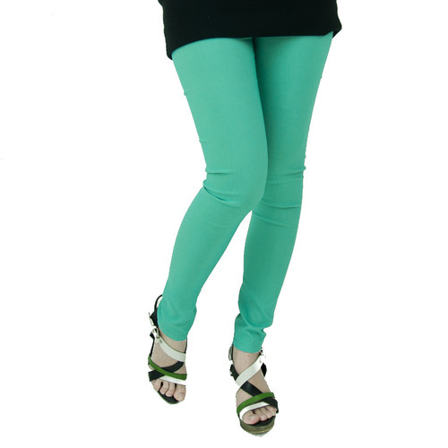 Green Cotton Ladies Plain Legging