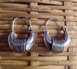 Moon Shape Silver Alike Brass Earrings