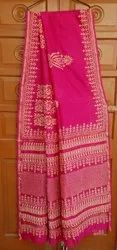Hand Block Printed Pure Chanderi Silk Saree