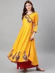 Long Flared Angrakha Kurta