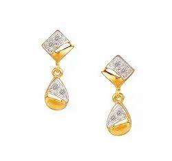 Tanishq 18KT Yellow Gold Diamond Drop Earrings