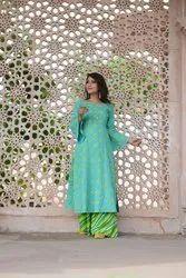 Ladies Green Palazzo Suit