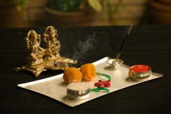 Laxmi And Ganesh With Diya For Diwali