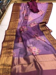 Indian Ethnic Designer Organza Kanchi Border Party Wear Saree, Length: 6 m (with blouse piece)