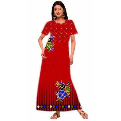 S And M Elegant Printed Ladies Cotton Gown