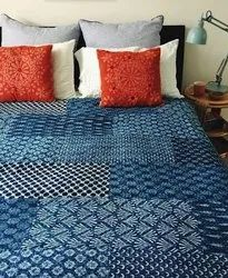 Indian Kantha Quilt Block Print Patchwork Cotton Bedspread