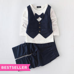 Navy Waistcoat Style T-Shirt And Pant Set