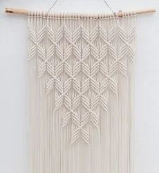 White Cotton Macrame Wall Hanging, For Decoration, Size: 3x1.5feet