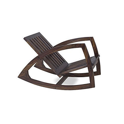Dark Brown Solid Wood Rocking Chair