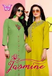 Jasmin-Rsf New Latest Catalog Rayon With Fancy Work Long Straight Kurtis