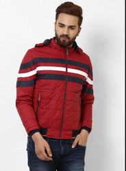Red Solid Hooded Jacket