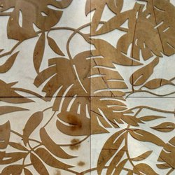 Leaf Pattern Natural Stone Engraver Tile