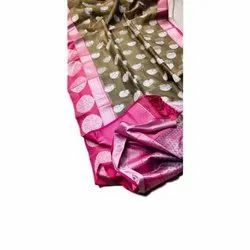 Party Wear Chanderi Silk Printed Saree, Packaging Type: Box, 5.5 m (separate blouse piece)