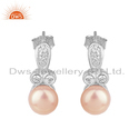 CZ Pink Pearl Gemstone 925 Silver Earrings